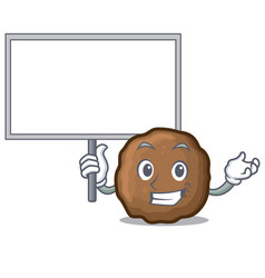Bring board meatball character cartoon style vector