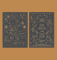 bundle of christmas and new year greeting card vector image