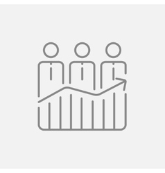 Businessmen standing on profit graph line icon vector