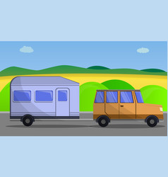 camp car trailer concept banner cartoon style vector image