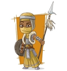 Cartoon cool Persian assassin with spear vector image