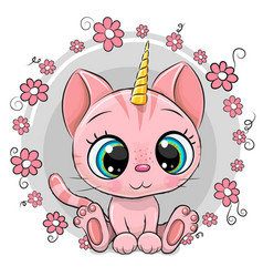 cartoon pink kitten unicorn with flowers vector image