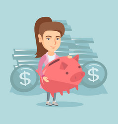Caucasian business woman holding big piggy bank vector