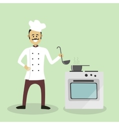 chef cook with an oven vector image