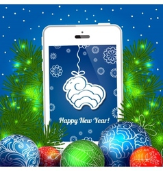 Christmas blue card with balls and cellphone vector