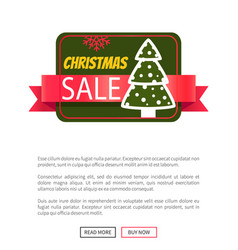 christmas sale card with tree vector image