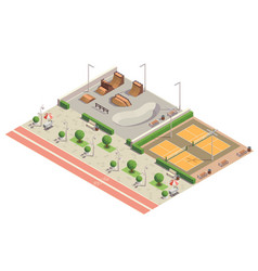 City park isometric composition vector