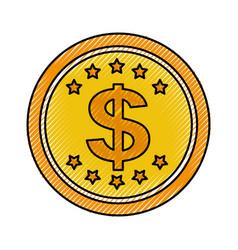 Coin money dollar icon vector