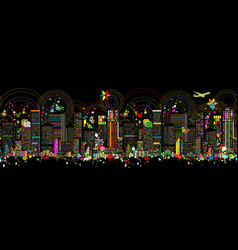 Colorful night metropolis seamless pattern for vector