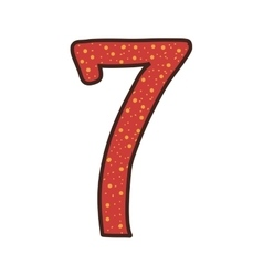colorful number seven design over dotted vector image