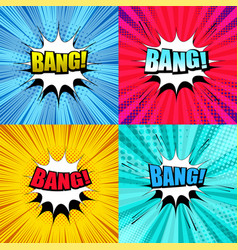 Comic bang wording set vector