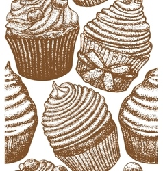 Cupcake background vector