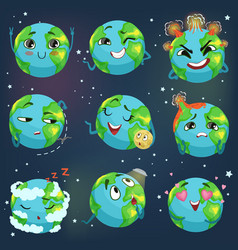 Cute funny planet earth emoji showing different vector