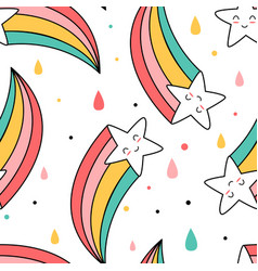 Cute star with rainbow seamless pattern vector