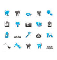Dental medicine and dentistry tools icons vector