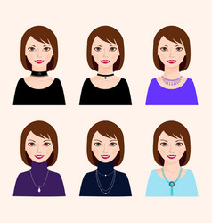 Different types of costume jewellery vector