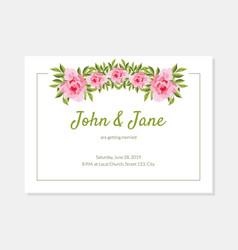 elegant flowers frame wedding invitation card vector image