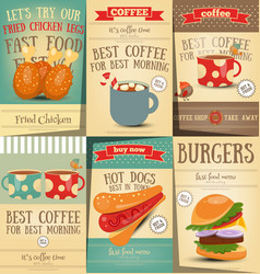 fast food and coffee posters set vector image