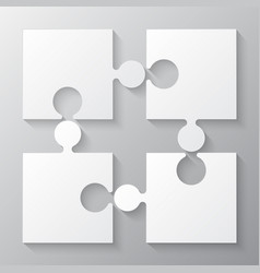 Four white piece jigsaw puzzle four section vector
