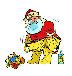 funny santa claus 2021 in a protective medical vector image