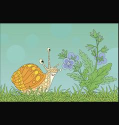 Garden snail smelling a wildflower vector