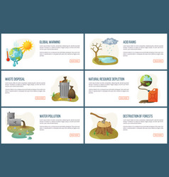 Global warming and climate changes on planet web vector