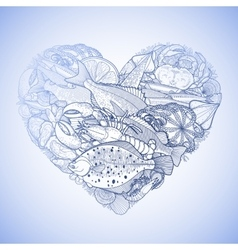 graphic seafood in shape heart vector image