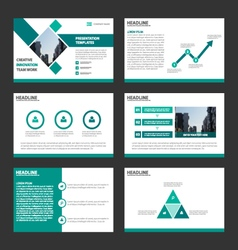 Green presentation templates Infographic template vector