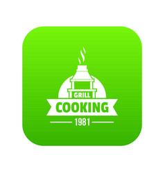grill cooking icon green vector image