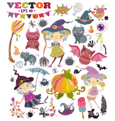 halloween collection of cute witches girls vector image