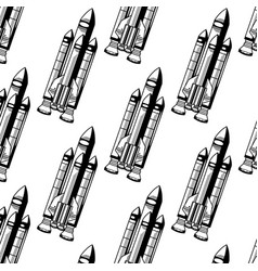 hand drawn pattern with of realistic rocket vector image