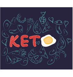 Hand lettering quote - i love keto keto diet vector