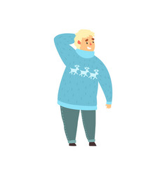 Handsome overweight man dressed in blue sweater vector