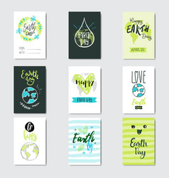 happy earth day cards set collection of creative vector image
