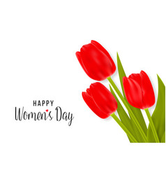 happy women s day greeting card with tulips vector image