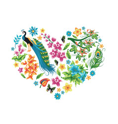 Heart with tropical leaves flowers and a bird vector