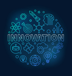 innovation round blue linear vector image