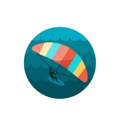 Kite boarding Kite surfing icon Summer Vacation vector