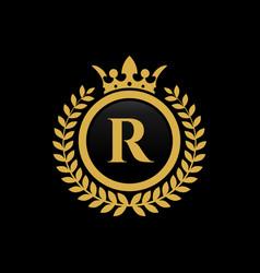 Letter r crown logo vector