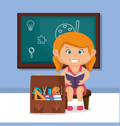 Little schoolgirl with chalkboard vector