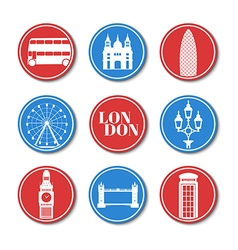 London Set round stickers vector