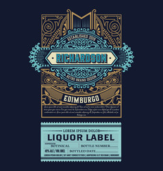 luxury liquor label with floral ornaments vector image