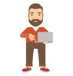 Man with notebook presses button on keyboard vector image