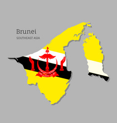 Map brunei with national flag vector
