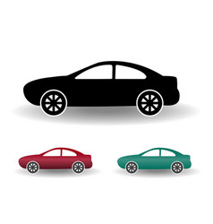modern car icon black and white flat simple with vector image