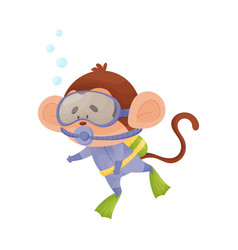 Monkey wearing diving suit snorkeling underwater vector