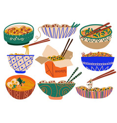 Noodles set traditional asian food with spices vector