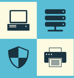 notebook icons set collection of database vector image
