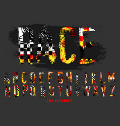 Off-road rally alphabet vector