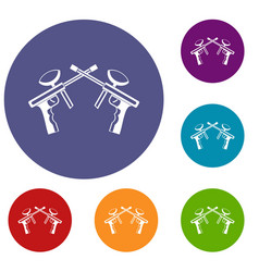 paintball guns icons set vector image